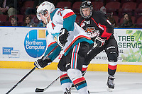 KELOWNA, CANADA -FEBRUARY 25: Kody McDonald #9 of the Prince George Cougars makes his WHL debut and skates against the Kelowna Rockets on February 25, 2014 at Prospera Place in Kelowna, British Columbia, Canada.  McDonald is a 2013 second round Bantam draft pick, the second selection and 24th overall by the Prince George Cougars. (Photo by Marissa Baecker/Getty Images)  *** Local Caption *** Kody McDonald;