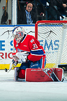 KELOWNA, BC - JANUARY 31: Lukáš Pařík #33 of the Spokane Chiefs makes a third period save against the Kelowna Rockets at Prospera Place on January 31, 2020 in Kelowna, Canada. Pařík is a 2019 NHL entry draft pick of the Los Angeles Kings. (Photo by Marissa Baecker/Shoot the Breeze)