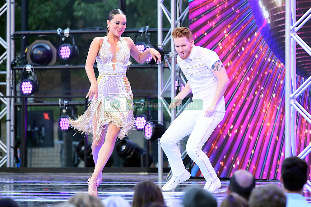 Katya Jones and Neil Jones arriving at the red carpet launch of Strictly Come Dancing 2019, held at BBC TV Centre in London, UK.