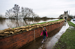 © Licensed to London News Pictures. 28/12/2015. Cawood, UK. A young girl walks past sandbags on top of a flood defence wall keeping flood water away from the town of Cawood in North Yorkshire where floods and rising tides have threatened the town. Several warnings of risk to life are sill in place in parts of Lancashire and Yorkshire where rainfall has been unusually high, causing heavy flooding. Photo credit: Ben Cawthra/LNP