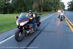 """Conrad """"Mayhem"""" Gray on a ride out to Vanessa's Corner Pub in Westminster, MD with the Flying Eagles MC (founded 1950). USA. August 14, 2015.  Photography ©2015 Michael Lichter."""