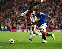 Football - 2019 / 2020 UEFA Europa League - Group G: Rangers vs. Feyenoord<br /> <br /> Alfredo Morelos of Rangers vies with Edgar Ie of Feyenoord, at Ibrox<br /> COLORSPORT/BRUCE WHITE