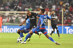 South Africa: Johannesburg: Orlando Pirates Thabo Matlaba and  SuperSport United Evans Rusike during the Absa Premiership at the Orlando stadium, Gauteng. <br />Picture: Itumeleng English/African News Agency (ANA)