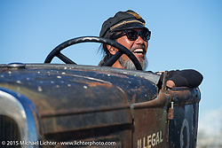Atsushi (Sushi) Yasui of Freewheelers and Company from Japan in his Hot Rod racer at the Race of Gentlemen. Wildwood, NJ, USA. October 11, 2015.  Photography ©2015 Michael Lichter.
