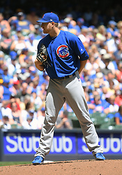 June 13, 2018 - Milwaukee, WI, U.S. - MILWAUKEE, WI - JUNE 13: Chicago Cubs Pitcher Mike Montgomery (38) looks in during a MLB game between the Milwaukee Brewers and Chicago Cubs on June 13, 2018 at Miller Park in Milwaukee, WI. The Brewers defeated the Cubs 1-0.(Photo by Nick Wosika/Icon Sportswire) (Credit Image: © Nick Wosika/Icon SMI via ZUMA Press)