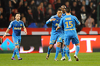 FOOTBALL - FRENCH CHAMPIONSHIP 2011/2012 - L1 - STADE RENNAIS v OLYMPIQUE MARSEILLE - 29/01/2012 - PHOTO PASCAL ALLEE / DPPI - JOY MARSEILLE AFTER THE LOIC REMY GOAL (OM)