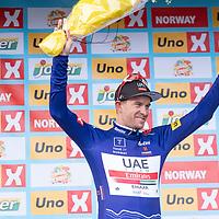 Edvald Boasson Hagen vant i Kristiansand under Tour of Norway sykkelritt etappe 2: Lyngdal - Kristiansand. Her Alexsander Kristoff med poengtrøya.