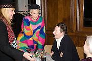 MANDI LENNARD, AGNES DEYN AND JOE MCKENNA. Gap/ Red launch Dinner hosted by  Katie Grand at Bistrotheque. Bethnal Green. London. 29 November 2007.  -DO NOT ARCHIVE-© Copyright Photograph by Dafydd Jones. 248 Clapham Rd. London SW9 0PZ. Tel 0207 820 0771. www.dafjones.com.