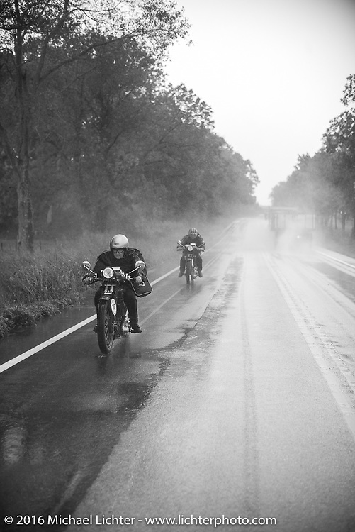 Claudia Ganzaroli of Rimini, Italy riding her 1928 Moto Frera with Sante Mazza right behind on his 1926 Moto Frera during Stage 6 of the Motorcycle Cannonball Cross-Country Endurance Run, which on this day ran from Cape Girardeau to Sedalia, MO., USA. Wednesday, September 10, 2014.  Photography ©2014 Michael Lichter.THIS IMAGE IS ONLY AVAILABLE AS  LIMITED EDITION PRINT. TO ORDER A PRINT, GO TO THE LIMITED EDITION SECTION. The title of this limited edition image is - Claudia and Sante on their Moto Frera's. Missouri, 2014