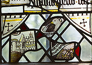 Saint Nicholas chapel, Gipping, Suffolk, England, UK medieval fragments stained glass of east window
