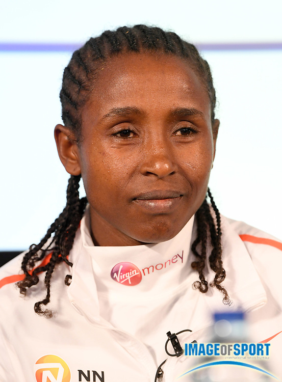 Tadelech Bekele (ETH) at press conference after placing third in the women's race in 2:21:40 in the London Marathon in London, Sunday, April 22, 2018. (Jiro Mochizuki/Image of Sport)