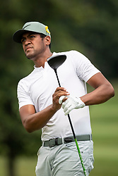 August 5, 2018 - Akron, OH, U.S. - AKRON, OH - AUGUST 05:   Tony Finau (USA) watches his shot from the sixth tee during the final round of the World Golf Championships - Bridgestone Invitational on August 5, 2018 at the Firestone Country Club South Course in Akron, Ohio. (Photo by Shelley Lipton/Icon Sportswire) (Credit Image: © Shelley Lipton/Icon SMI via ZUMA Press)