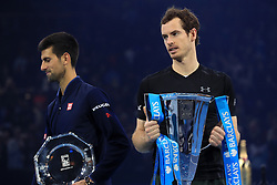 Andy Murray celebrates winning the championship during day eight of the Barclays ATP World Tour Finals at The O2, London.