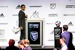 January 11, 2019 - Chicago, IL, U.S. - CHICAGO, IL - JANUARY 11: Siad Haji prepares to speak after being selected as the number two overall pick to the San Jose Earthquakes in the first round of the the MLS SuperDraft on January 11, 2019, at McCormick Place in Chicago, IL. (Photo by Patrick Gorski/Icon Sportswire) (Credit Image: © Patrick Gorski/Icon SMI via ZUMA Press)