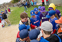 Players recite the Little League Pledge during Opening Day festivities at Colby Field on Saturday morning.  (Karen Bobotas/for the Laconia Daily Sun)