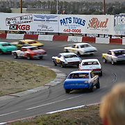 Scenes from stock car racing at Cajon Speedway, El Cajon, CA. Race course no longer exists.