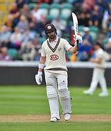 50 for Mark Stoneman of Surrey - Mark Stoneman of Surrey celebrates scoring a half century during the opening day of the Specsavers County Champ Div 1 match between Somerset County Cricket Club and Surrey County Cricket Club at the Cooper Associates County Ground, Taunton, United Kingdom on 18 September 2018.