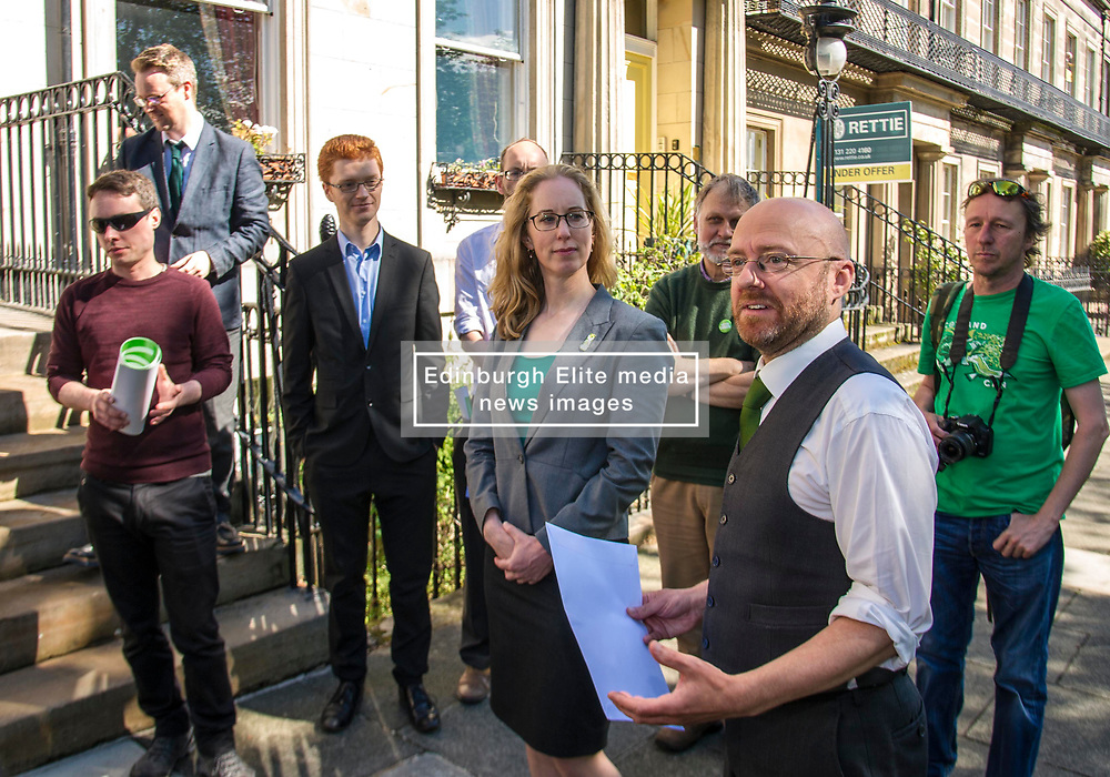 Pictured: <br /> <br /> Scottish Green Party party leader Partick Harvie was joined by Local candidate Lorna Slater, MSPs Alison Johnstone, Mark Ruskell, Andy Wightman and Ross Geer to hand in a letter addresses to Donald Trump, President of the USA at the US Consulate in Edinburgh <br /> Ger Harley   EEm 20April 2017