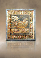 Roman mosaic of birds drinking from Pompeii,  Naples Archaeological Musum, Italy .<br /> <br /> If you prefer to buy from our ALAMY PHOTO LIBRARY  Collection visit : https://www.alamy.com/portfolio/paul-williams-funkystock - Scroll down and type - Roman Mosaic Naples - into LOWER search box. {TIP - Refine search by adding a background colour as well}.<br /> <br /> Visit our ROMAN ART & HISTORIC SITES PHOTO COLLECTIONS for more photos to download or buy as wall art prints https://funkystock.photoshelter.com/gallery-collection/The-Romans-Art-Artefacts-Antiquities-Historic-Sites-Pictures-Images/C0000r2uLJJo9_s0