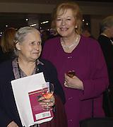 Doris Lessing and Lady Antonia fraser, PEN Personal Wonderlands, Bloomberg Space, 25 November 2003. .© Copyright Photograph by Dafydd Jones 66 Stockwell Park Rd. London SW9 0DA Tel 020 7733 0108 www.dafjones.com