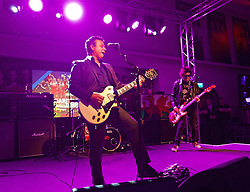 CARDIFF, WALES - Wednesday, June 1, 2016: James Dean Bradfield and Nicky Wire of The Manic Street Preachers performs for the Wales team during a charity send-off gala dinner at the Vale Resort Hotel ahead of the UEFA Euro 2016. (Pic by David Rawcliffe/Propaganda)