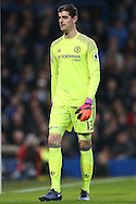Goalkeeper Thibaut Courtois of Chelsea looking on. Premier league match, Chelsea v Stoke city at Stamford Bridge in London on Saturday 31st December 2016.<br /> pic by John Patrick Fletcher, Andrew Orchard sports photography.