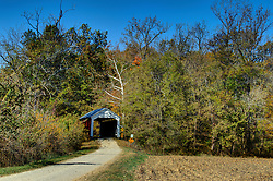 2015 Oct 19: Indiana Covered Bridge Festival every October.  This is the Bowsher Ford Bridge.  It was built over Mill Creek on Bowsher Road in 1915 by Eugene Britton. This bridge has a 72' span.<br /> <br /> This image was produced in part utilizing High Dynamic Range (HDR) processes.  It should not be used editorially without being listed as an illustration or with a disclaimer.  It may or may not be an accurate representation of the scene as originally photographed and the finished image is the creation of the photographer.