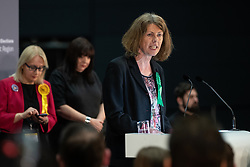 © Licensed to London News Pictures . 26/05/2019. Manchester, UK.  GINA DOWDING (Green Party) . The count for seats in the constituency of North West England in the European Parliamentary election , at Manchester Central convention centre . Photo credit: Joel Goodman/LNP