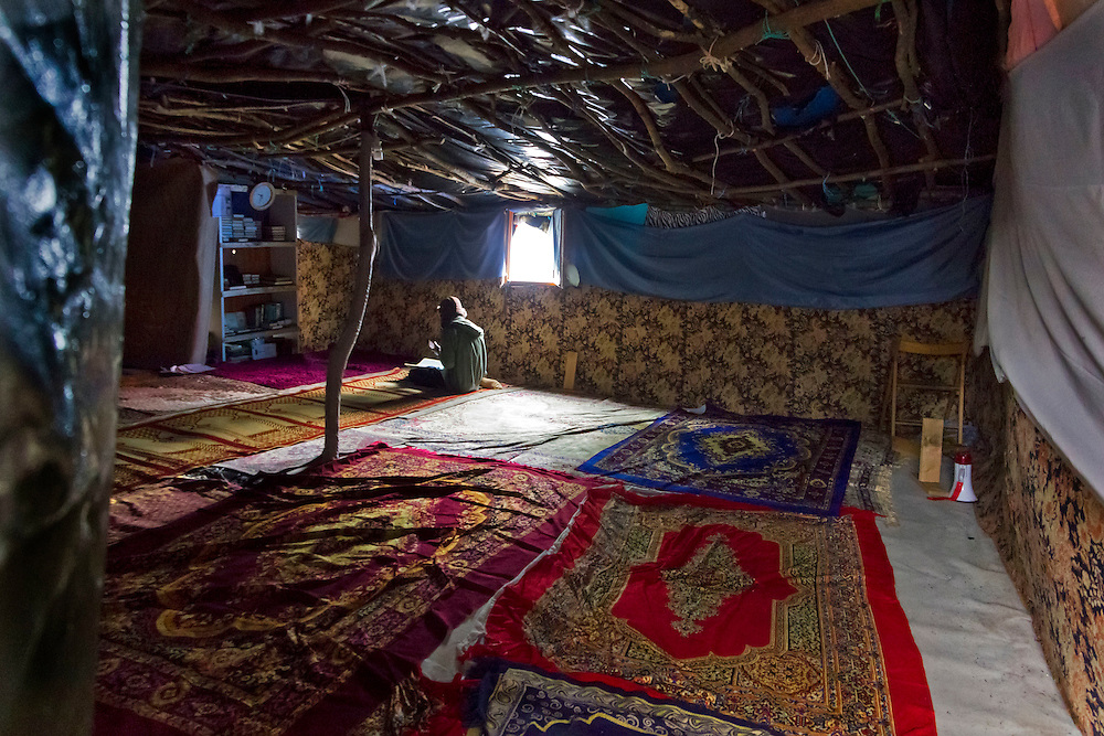 Inside makeshift mosque. The Jungle, Calais, northern France.