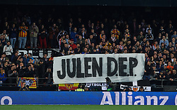 January 26, 2019 - Valencia, Valencia, Spain - Valencia CF fans shows a message Julen DEP during the La Liga Santander match between Valencia and Villarreal at Mestalla Stadium on Jenuary 26, 2019 in Valencia, Spain. (Credit Image: © Maria Jose Segovia/NurPhoto via ZUMA Press)