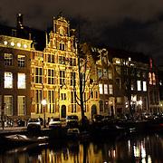 NLD/Amsterdam/20081118 - Woningen aan de Amsterdamse Keizergracht bij nacht,
