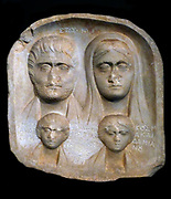 Grave relief. Local, Macedonian Marble. Found at Sandanski, formerly Agioi Anargyroi, in southern Bulgaria. Depiction of the busts of a family of four. The relief was discovered on a site on which a Christian church was built in the 19th century. The villagers interpreted the figures of the two children as Saints Kosmas and Damian, the Agioi Anargyroi, and incised the inscriptions next to the two children. Between them is recorded the date of the foundation of the church. The grave relief dates from the middle of the 3rd century AD.