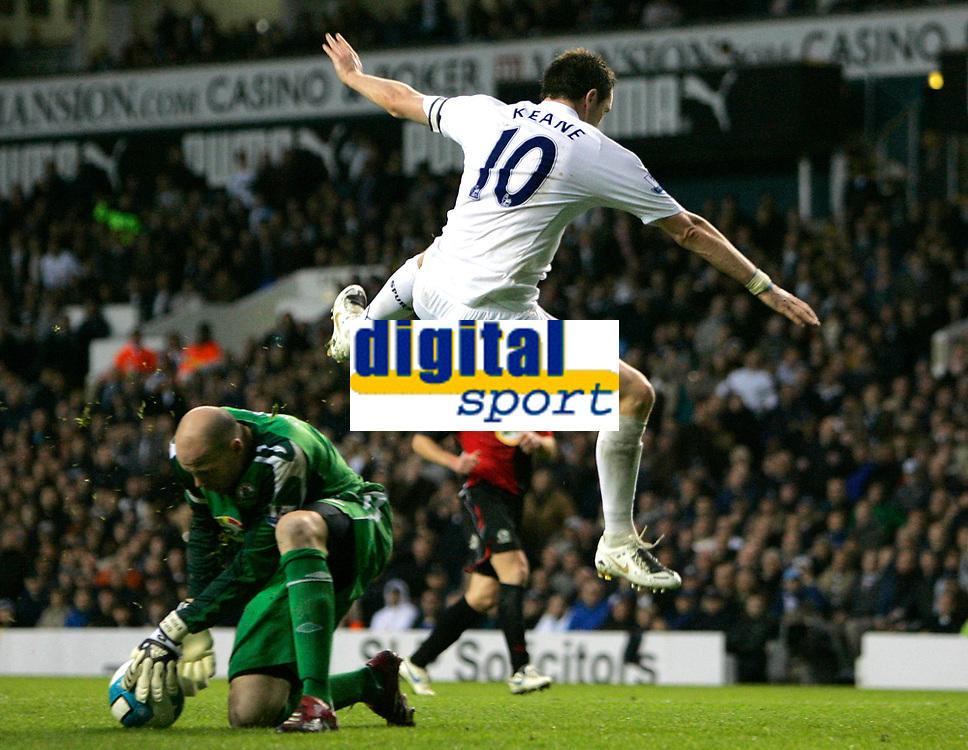Photo: Tom Dulat.<br /> <br /> Tottenham Hotspur v Blackburn Rovers. The FA Barclays Premiership. 28/10/2007.<br /> <br /> Brad Friedel of Blackburn Rovers saves the ball from Robbie Keane of Tottenham Hotspur.