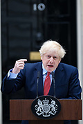April 27, 2020, London, England, United Kingdom: British Prime Minister BORIS JOHNSON makes a statement on his first day back at work in Downing Street, London, after recovering from a bout with the coronavirus that put him in intensive care. (Credit Image: © Vedat Xhymshiti/ZUMA Wire)