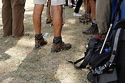 outdoor hikers meeting up at a rest stop