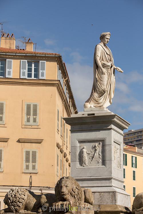 Low angle view of Napoleon Bonaparte Statue in Marshal Foch Square, Ajaccio, Corsica, France