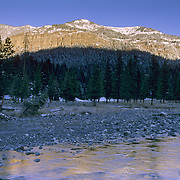 Alpenglow reflecting on the waters of Pebble Creek in Yellowstone National Park.