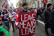 Pro Brexit anti European Union Leave protesters demonstrating in Westminster on what, prior to another Brexit Day extension, would have been the day the UK was scheduled to leave the EU, and instead political parties commence campaigning for a General Election on 31st October 2019 in London, England, United Kingdom. Brexit is the scheduled withdrawal of the United Kingdom from the European Union. Following a June 2016 referendum, in which 51.9% of participating voters voted to leave.