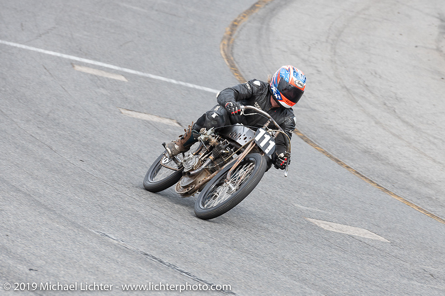 Mark Hanna on his 61 ci racer at the Sons of Speed Vintage Motorcycle Races at New Smyrina Speedway. New Smyrna Beach, USA. Saturday, March 9, 2019. Photography ©2019 Michael Lichter.