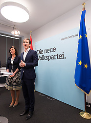 24.05.2017, Bundesparteizentrale, Wien, AUT, ÖVP, Pressekonferenz zu personellen Neuerungen. im Bild v.l.n.r. ÖVP-Generalsekretärin Elisabeth Köstinger und Außenminister und designierter ÖVP-Chef Sebastian Kurz // f.l.t.r. Secretary General of the Austrian Peoples Party Elisabeth Koestinger and Austrian Foreign Minister Sebastian Kurz during media conference of the austrian peoples party in Vienna, Austria on 2017/05/24. EXPA Pictures © 2017, PhotoCredit: EXPA/ Michael Gruber