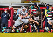 Leicester Tigers wing Nemani Nadolo kicks on as Sale Sharks No.8 Josh Beaumont drops the ball during a Gallagher Premiership Round 7 Rugby Union match, Friday, Jan. 29, 2021, in Leicester, United Kingdom. (Steve Flynn/Image of Sport)