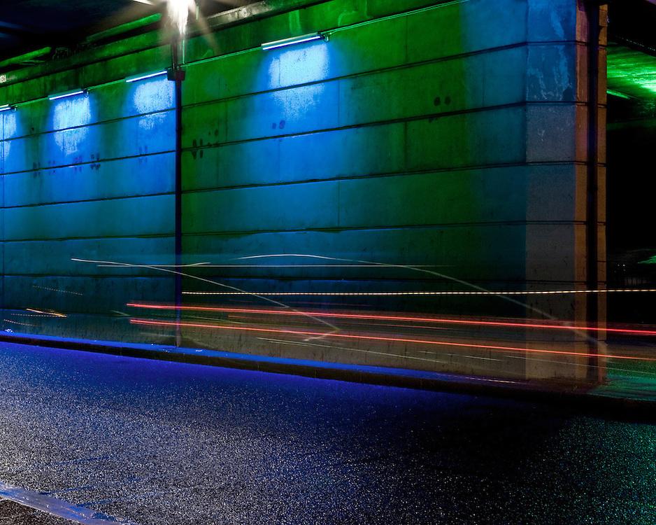 Neon Lights under a bridge