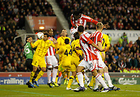 20111020: STOKE ON TRENT, ENGLAND - UEFA Europe League Group E: Stoke City vs Maccabi Tel-aviv.<br /> In photo: Kenwyne Jones scores the first goal of the game for Stoke City.<br /> PHOTO: CITYFILES