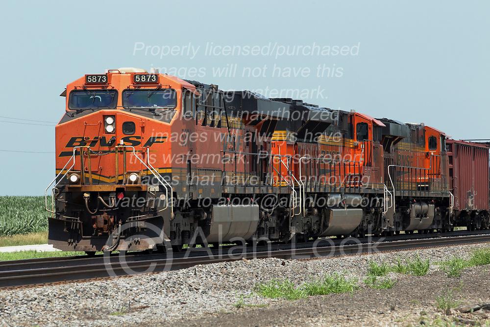 Just south of Wataba Illinois, a Burlington Northern Santa Fe Freight Train travels towards Galesburg