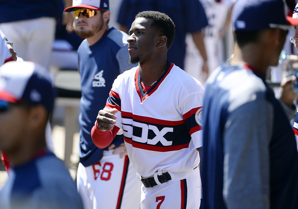CHICAGO - APRIL 23:  Tim Anderson #7 of the Chicago White Sox looks on against the Cleveland Indians on April 23, 2017 at Guaranteed Rate Field in Chicago, Illinois.  The White Sox defeated the Indians 6-2.  (Photo by Ron Vesely)   Subject:  Tim Anderson