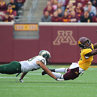 MINNEAPOLIS, MN - SEPTEMBER 24: Eric Carter #9 of the Minnesota Golden Gophers catches a pass in the first quarter while Justin Sweet #29 of the Colorado State Rams attempts the tackle at TCF Bank Stadium on September 24, 2016 in Minneapolis, Minnesota. (Photo by Adam Bettcher/Getty Images) *** Local Caption *** Eric Carter; Justin Sweet