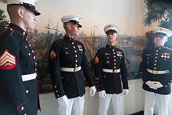 April 24, 2018 - Washington, District of Columbia, U.S. - Navy cadets during arrival ceremony of the President of France. (Credit Image: ? White House via ZUMA Wire/ZUMAPRESS.com)