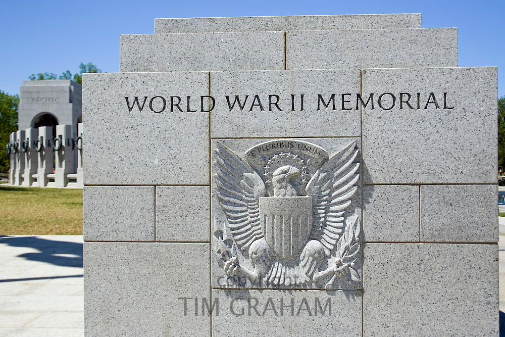 Great Seal and motto 'E PLURIBUS UNUM' The National World War II Memorial, Washington D.C, USA