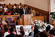 "The pastor delivering remarks about Kevin.<br /> Funeral services for Kevin ""Flipside"" White at Macedonia Church in Watts.<br /> White was shot dead in what is believed to be an unprovoked attack during a gang conflict at Watts' Nickerson Gardens and Jordan Downs housing projects.<br /> Flipside, 44, was a founding member of Watts' first major label hip hop act, O.F.T.B. (Operation From The Bottom)."
