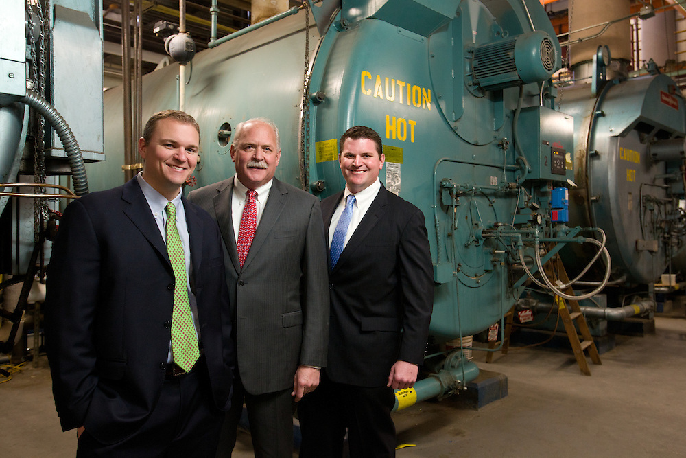 Weymouth, MA 02/07/2012<br /> Kevin Lynch, Jeff Lynch, and Justin Lynch of Enterprise Equipment, photographed in the boiler room of South Shore Hospital.